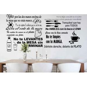 """Vinilo decorativo """"Normas comidas niños"""""""
