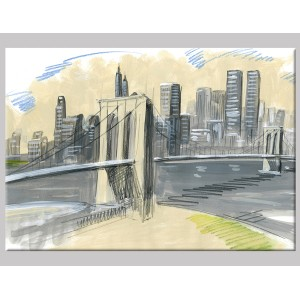 "Pintura mixta ""Brooklyn Bridge"""